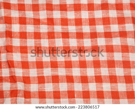 Tablecloth red and white checkered wavy texture background  - stock photo