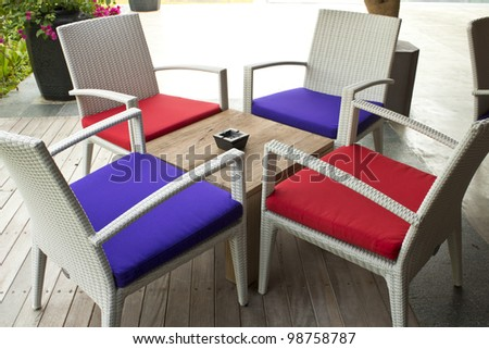 Tables and chairs for relaxing and smoking - stock photo