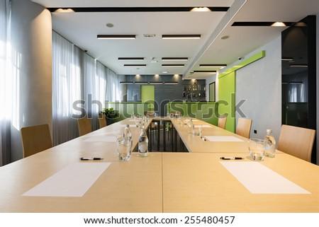 Tables prepared for seminar - stock photo