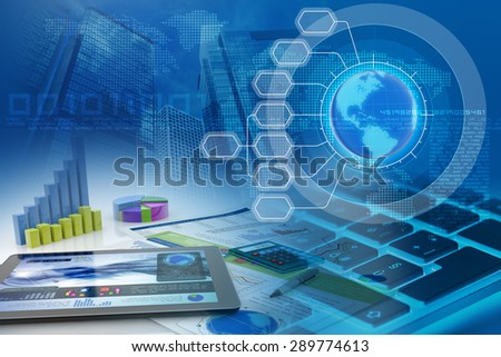 tablet and bar charts in an abstract financial background - stock photo