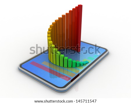 tablet and  graphs, concept of technology supporting the financial analysis - stock photo