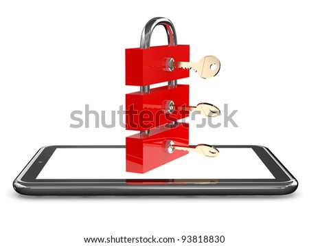 Tablet and lock with keys. Firewall concept. 3D model - stock photo