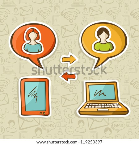 Tablet and notebook devices connecting people in social media networks over pattern background. - stock photo