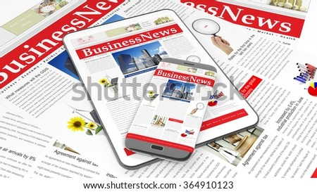 Tablet and smartphone with Business News website on screen, with newspapers underneath. - stock photo