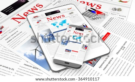 Tablet and smartphone with News website on screen, with newspapers underneath. - stock photo