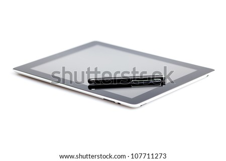 tablet and stylus isolated on white - stock photo