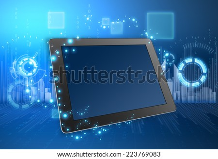 tablet and the city skyline in background illustration - stock photo