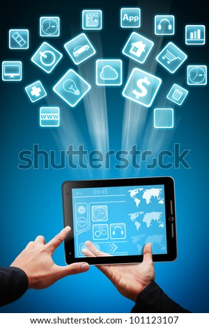 Tablet computer and App store concept - stock photo