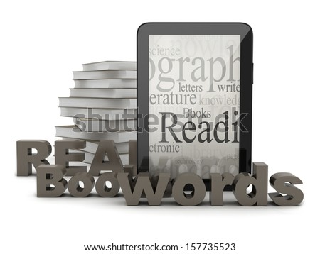 Tablet computer and books - stock photo