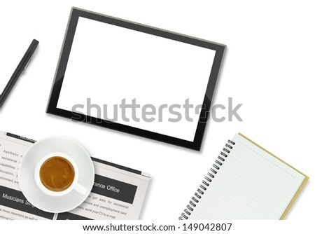 Tablet computer, coffee cup and other office supplies on white background - stock photo
