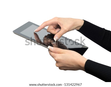 tablet computer in a hands - stock photo