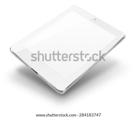 Tablet computer ipad style mockup with blank screen isolated on white background. Highly detailed illustration. - stock photo
