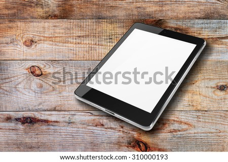 Tablet computer ipade style mockup blank screen on wooden background. Highly detailed illustration. - stock photo