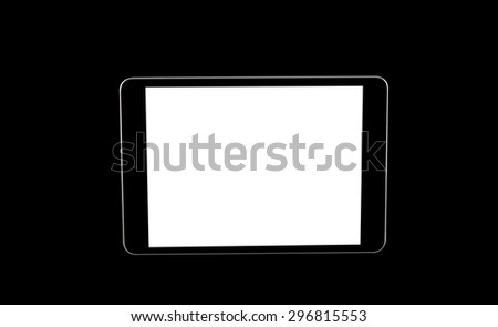 tablet computer isolated on black background - stock photo