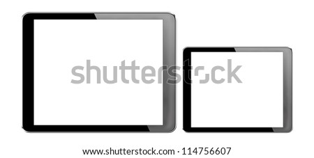 tablet computer pc (7 inches,10 inches) with isolated screen on white background + Clipping Path - stock photo