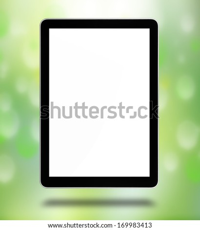 tablet computer pc, isolated on the white background - stock photo