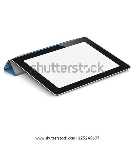 Tablet computer (pc) on white background. Raster version - stock photo