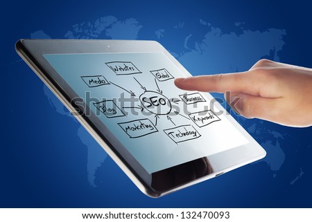 Tablet Computer with a SEO schema and a hand on blue background with world map - stock photo