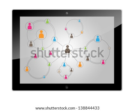 Tablet Computer with a social media connection schema - stock photo
