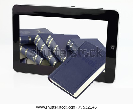 Tablet computer with books isolated on white - stock photo