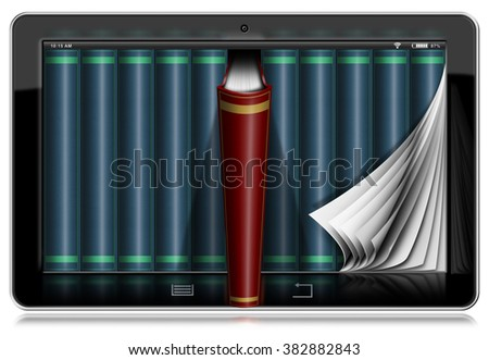 Tablet Computer with Pages and Books / Horizontal black tablet computer with curled pages and books in the screen. Isolated on white background - stock photo
