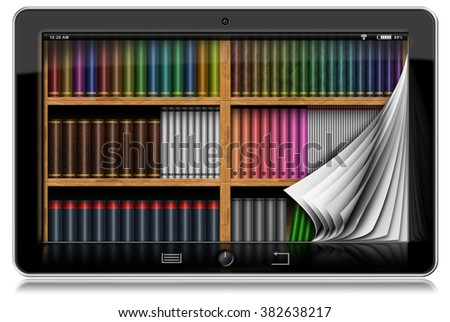 Tablet Computer with Pages and Library / Horizontal black tablet computer with curled pages and a library in the screen. Isolated on white background - stock photo