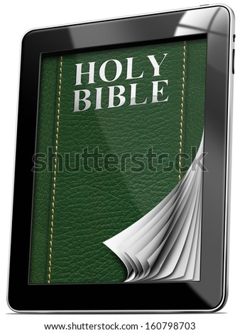 Tablet computer with pages and monitor and leather cover with the words Holy Bible  - stock photo