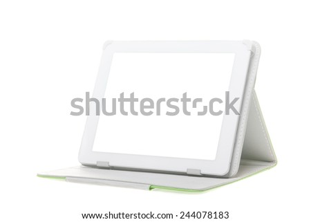 Tablet computer with stand on a white background. Isolated - stock photo