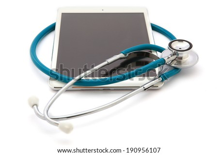 Tablet Computer With  Stethoscope, Isolated On White Background - stock photo