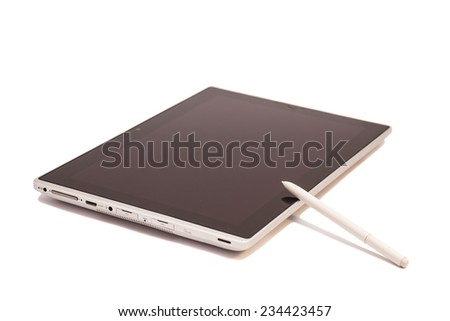 Tablet computer with Stylus pen isolated on white  - stock photo