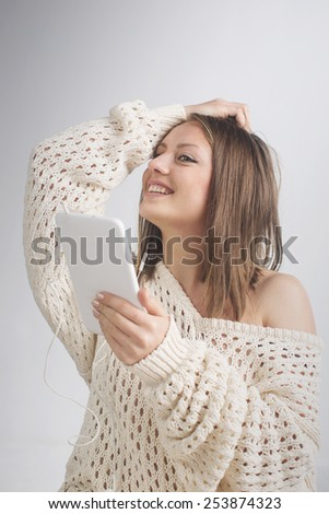 Tablet computer. Woman using digital tablet computer PC  - stock photo