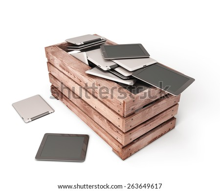 Tablet computers are dumped in an old wooden box. 3d illustration. - stock photo