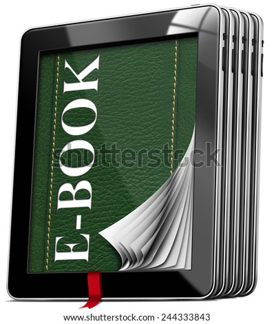 Tablet Computers - E-Book. Set of black tablet computers with green cover in leather and text e-book, curled pages, red bookmark. Isolated on white background - stock photo