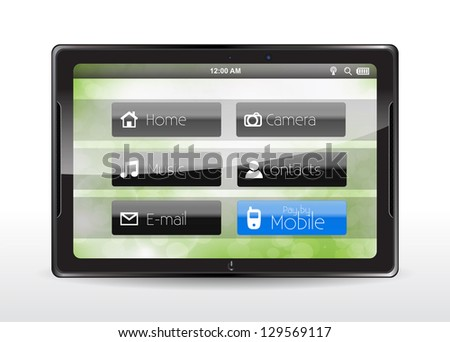 "Tablet concept with a blue ""Pay by Mobile"" button. - stock photo"