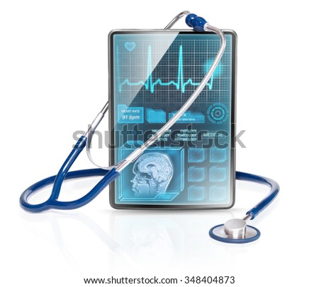 Tablet displaying medical data - stock photo