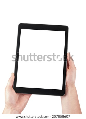 Tablet held in the women hands on a white background - stock photo