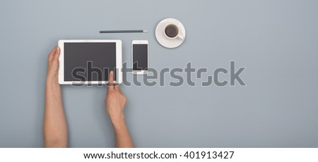 Tablet hero header image - stock photo