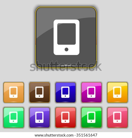 Tablet icon sign. Set with eleven colored buttons for your site. illustration - stock photo