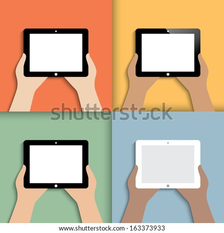 tablet in hands. icons in color.(rasterized version) - stock photo