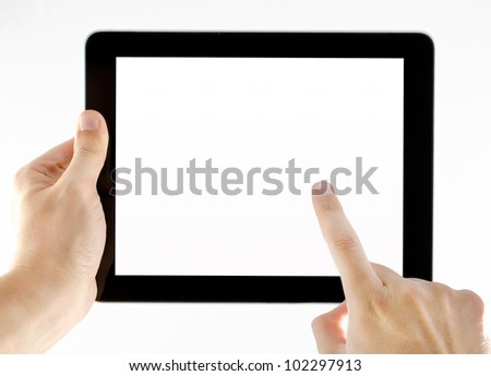 Tablet isolated on white background with two hands in a position to use - stock photo