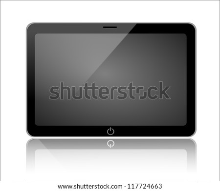 Tablet, laptop monitor horizontal isolated on white background with reflection - stock photo