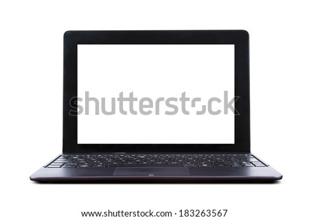 Tablet laptop with blank screen, front view, isolated on white background. - stock photo