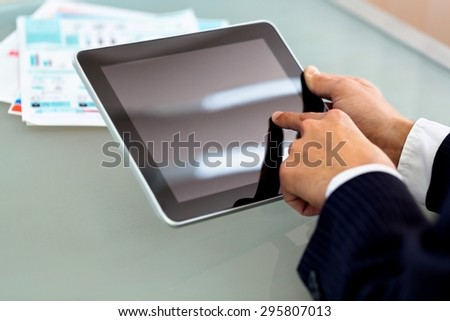 Tablet, man, business. - stock photo