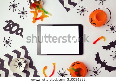 Tablet mock up template for halloween holiday app presentation - stock photo