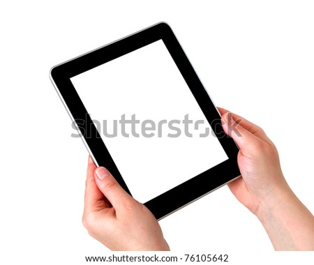 tablet over white background - stock photo