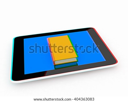 tablet pc and book on white background. 3D illustration. Anaglyph. View with red/cyan glasses to see in 3D. - stock photo