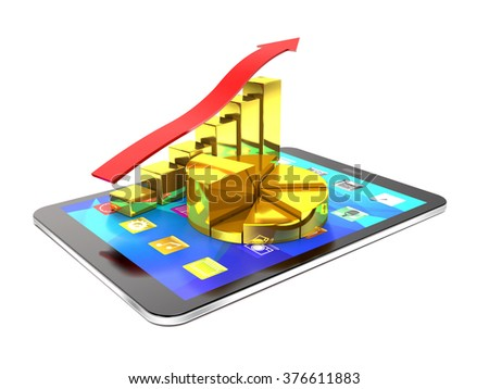 Tablet pc and diagram of golden bars and red arrow show success. - stock photo