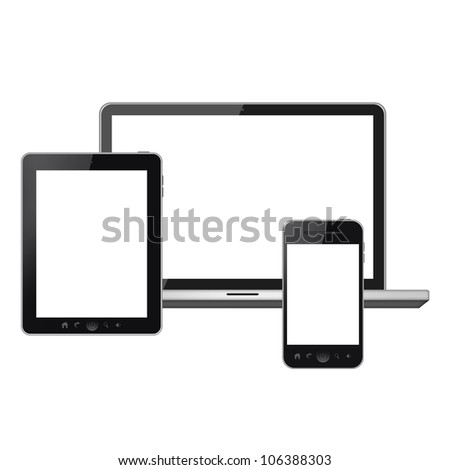 Tablet pc and mobile phone isolated on white background - stock photo