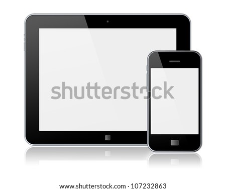 Tablet PC and mobile smartphone with blank screen. Isolated on a white. 3d image - stock photo