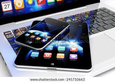Tablet PC and mobile smartphone with space dawn wallpaper and apps on a screen. Technology 3d concept	 - stock photo